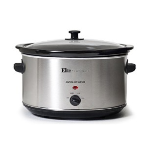 Elite Platinum MST-900V Maxi-Matic 8.5 Quart Stainless Steel Slow Cooker, Silver by Maxi Matic USA