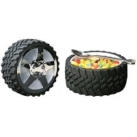 Tire Snack Bowl With Hubcap Lid - Nascar Fan Motorhead Car Enthusiast Wheel by Wrenchware