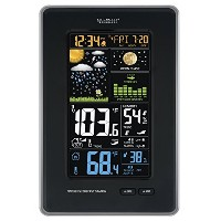 La Crosse Technology 308-1425B-INT Vertical Wireless Color Weather Station with Pressure, Black ...