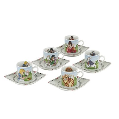 Cardew Design不思議の国のアリス磁器3-ounce Tea Party Cup and Saucer Set , Service for 5