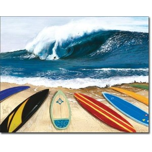 Surfing Wait Your Turn Tin Sign by Poster Revolution
