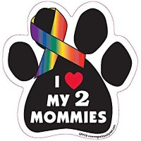 I Heart My 2 Mommies Paw Shaped Support Ribbon Car Truck & Mailbox Magnet by Magnetic Pedigrees