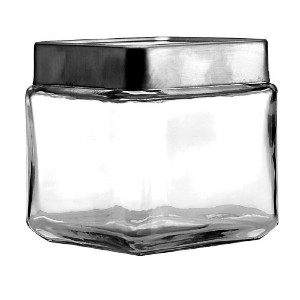 Anchor Hocking 1-Quart Stackable Jars with Brushed Aluminum Lid, Set of 6 by Anchor Hocking