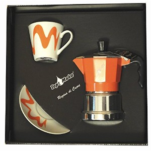 Top Moka 1 Cup Box Set Espresso Coffee Maker Orange Silver 1 Cup and 1 Saucer