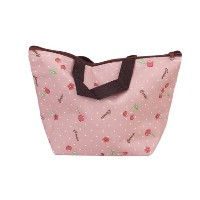 Lunch Box Bag Tote Insulated Cooler Carry Bag for Travel Picnic - Cherry Pattern