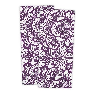 DII 100% Cotton, Everyday Basic Kitchen Dishtowel, Tea Towel, Drying, Damask Printed, 18 x 28 Set of 2- Eggplant by DII