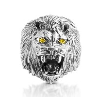 925 Sterling Silver Roarin Lion of Judah CZ Ring (11, .925 Sterling Silver with Yellow CZ Eyes)