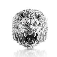 925 Sterling Silver Roarin Lion of Judah CZ Ring (9.5, .925 Sterling Silver with Clear CZ Eyes)