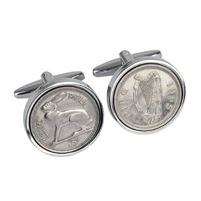 1940 – Irish Threepence coin cufflinks – 77歳誕生日Cufflinks