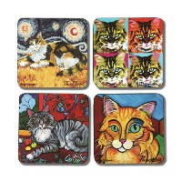 Pavilion Gift Company 12068 Paw Palettes Long Haired Cat Coaster, 4 by 4-Inch, Set of 4 by Pavilion...