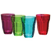 Circleware Overture Happy Multi Color Drinking Glasses cups Set, 7.75 Ounce, Set of 4 by Circleware
