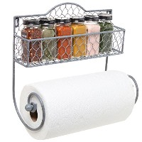 Wall Mounted Rustic Gray Metal Kitchen Spice Rack & Paper Towel Holder / Bathroom Basket & Towel...