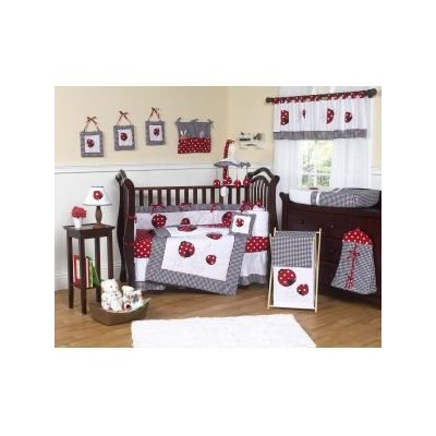Red and White Polka Dot Ladybug Queen Bed Skirt by Sweet Jojo Designs