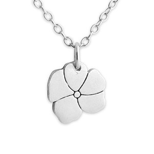 925 Sterling Silver Flower Pendant Necklace (16 Inches)