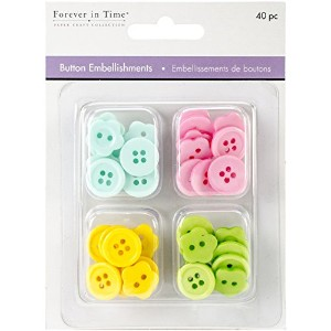 Button Embellishment Fashion Dyed Buttons 15mm 40/Pkg-Baby (並行輸入品)
