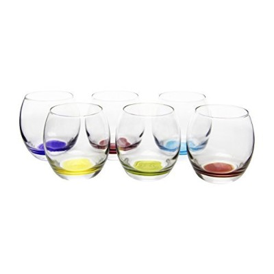 Prism Multi Colored Stemless Wine/Beverage Glasses, 13.75 Ounce - Set of 6 by Red Co.