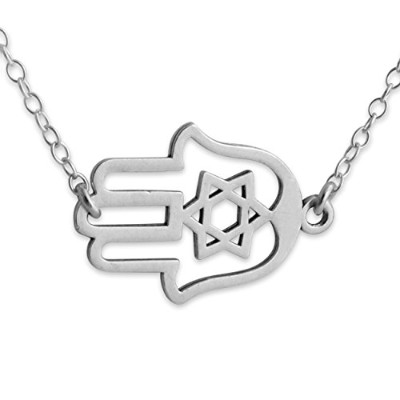 925 Sterling Silver Judaica Hamsa Hand Necklace with Jumper Chain (24 Inches)