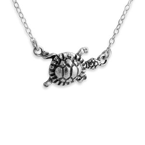 925 Sterling Silver Turtle Necklace with Jumper Chain (14 Inches)