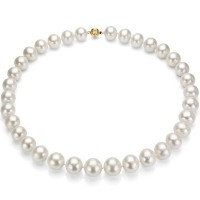 14 kyゴールド13 – 15 mmホワイト淡水養殖パールネックレス – Comparable to South Sea Cultured Pearl