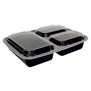 A World Of Deals 3-Compartment Microwave Safe Food Container with Lid/Divided Plate/Bento Box/Lunch...