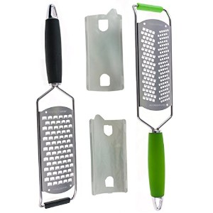 Stainless Steel Handheld Cheese and Lemon Grater and Zester Set of 2, Green and Black by Kitchen...