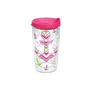 Tervis Nautical Anchor Away Wrap Bottle with Fuchsia Lid, 16-Ounce, On The Water by Tervis