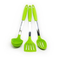 Quicklids QL-US-A-GR Silicone and Stainless Steel Kitchen Utensils (Set of 3), Turner/Slotted Spoon...