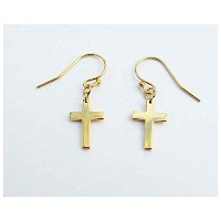 jennifer zouner jewelry(ジェニファーズーナーUSA) Mini Cross Hanging14K GOLD DEPPED イヤリン...