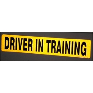 DCS Deals - Driver in Training Magnet - Reflective Vehicle Car Sign-black Letters on a Yellow...