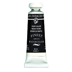 Grumbacher Finest Watercolor Paint, 14 ml/0.47 oz, Ivory Black by Grumbacher