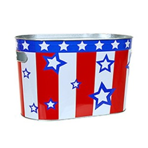 Patriotic Red White & Blue Oblong Metal Painted Ice Gift Bucket Tub Tote by Non Branded