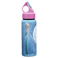 Zak! Designs Aluminum Water Bottle with Leak-proof Lid and Pull-out Spout featuring Elsa and Anna...
