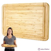 Bamboo Cutting Board and Serving Tray with Juice Groove - Extra Large 18 x 12 inches - Made Using...