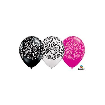 (12) 11 Damask Patterned Black, White & Pink Latex Balloons Party Decor by Qualatex by Qualatex