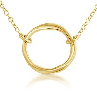 Gold Plated .925 Sterling Silver Karma Ring Circle of Life Necklace (22 Inches)