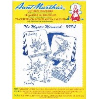 The Mystic Mermaid Aunt Martha's Hot Iron Embroidery Transfer by Aunt Martha's