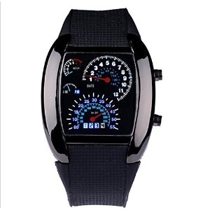 WPOSテつョ Cool RPM Turbo Blue & White Flash Digital LED Sports Watches Gift Car Meter Dial for Men by...