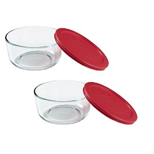 Pyrex Storage Round Dish With Red Plastic Cover by Pyrex