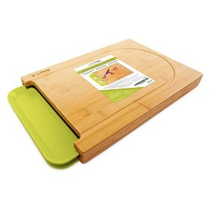 SimPrium - Premium Bamboo Cutting Board with Dip Groove and Plastic Tray for Easy Waste Removal by...