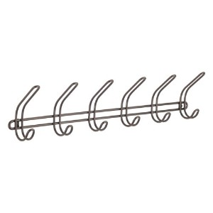 InterDesign Classico Wall Mount Entryway Storage Rack for Jackets, Coats, Hats, Scarves - 6 Hooks,...