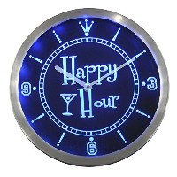 LEDネオンクロック 壁掛け時計 nc0340-b Happy Hour Bar Beer Glass Neon Sign LED Wall Clock