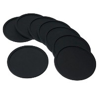 Barmix Rubber Silicone Drink Coasters (Set of 8 Pieces), Black by Attican