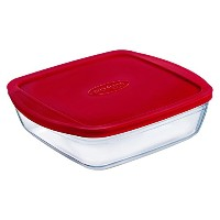 Arcuisine Borosilicate Glass Square Dish with Plastic Lid (6x5x2 10oz.) by International Cookware