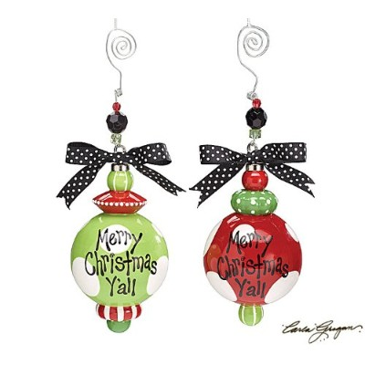 【ORNAMENT MERRY CHRISTMAS Y'ALL LARGE DOTS ASSORT 2個セット】 オーナメント