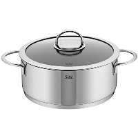 WMF 91.0224.6066 Vignola Low Casserole with Lid, 4.5-Quart, Silver [並行輸入品]