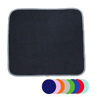 Jovilife Dish Drying Mat Kitchen Mat(set of 2) Microfiber Absorbent Washable, 16*18 Inch, Black by...
