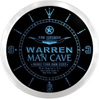 LEDネオンクロック 壁掛け時計 ncpb2235-b WARREN Man Cave Cowboys Beer Pub LED Neon Sign Wall Clock