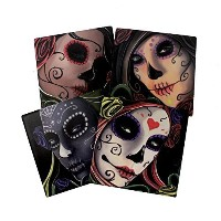 Day Of The Dead Sugar Skull Sisters Coaster Set of 4 By DWK | Decorative Ceramic Coaster Tiles With...
