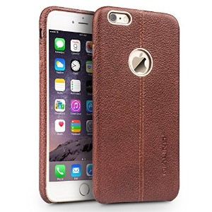 iphone 6s plus Case, 5.5 Ultrathin Genuine Leather Back Cover Phone Bumper by QIALINO, Stylish...
