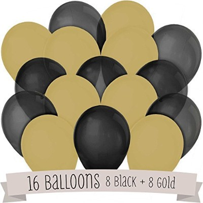 Black and Gold - 16 Pack of Latex Balloons (8 Black & 8 Gold)